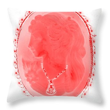 Cameo In Negative Red Throw Pillow by Rob Hans