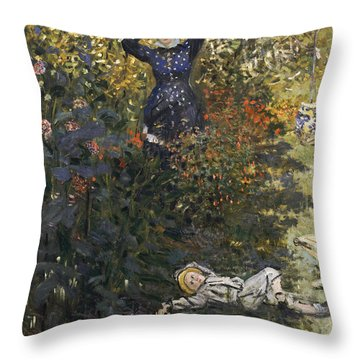 Camille And Jean In The Garden At Argenteuil  Throw Pillow by Claude Monet