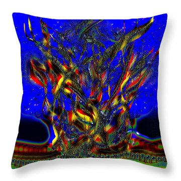 Throw Pillow featuring the digital art Camp Fire Delight by Alec Drake