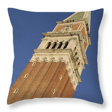 Campanile . Plazza San Marco. Venice Throw Pillow by Bernard Jaubert
