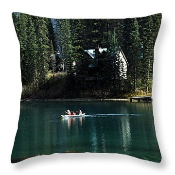 Canadian Rockies Throw Pillow by John Doornkamp