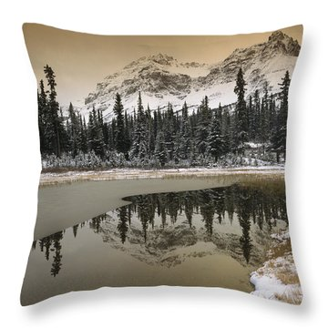 Canadian Rocky Mountains Dusted In Snow Throw Pillow by Tim Fitzharris