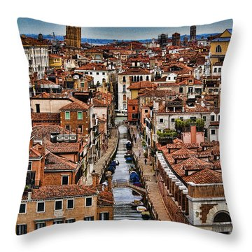 Canal And Bridges In Venice Italy Throw Pillow by David Smith