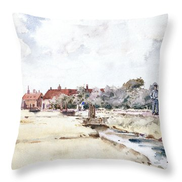 Canal Scene Throw Pillow by Childe Hassam