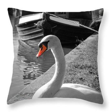 Canal Swan Throw Pillow