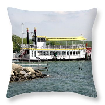 Canandaigua Lady Paddleboat Throw Pillow by Rose Santuci-Sofranko