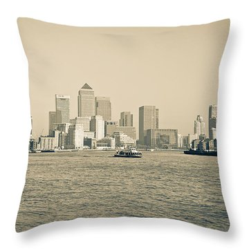 Throw Pillow featuring the photograph Canary Wharf Cityscape by Lenny Carter