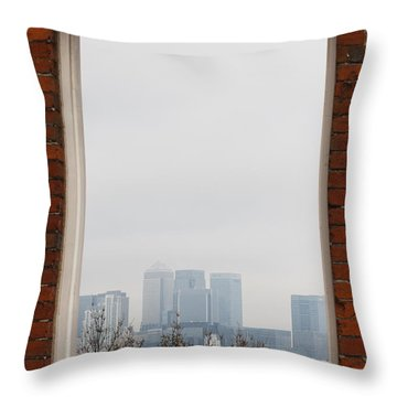Throw Pillow featuring the photograph Canary Wharf View by Maj Seda