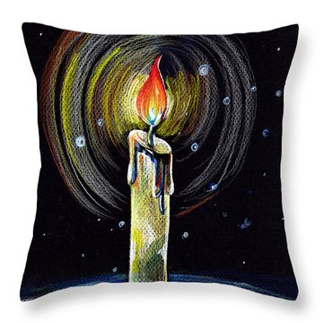 Throw Pillow featuring the drawing Candel On The Water  by Nada Meeks
