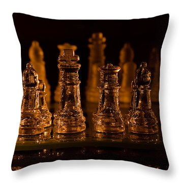 Candle Lit Chess Men Throw Pillow