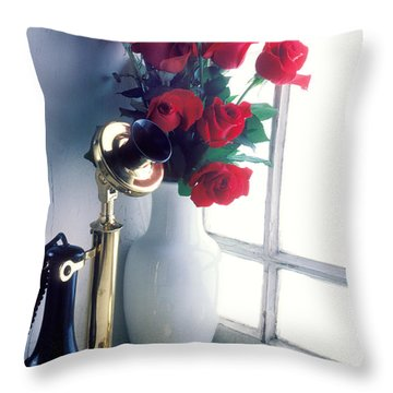 Candlestick Phone In Window Throw Pillow by Garry Gay
