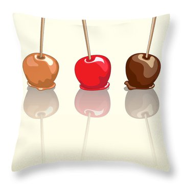 Candy Apples Reflected Throw Pillow by Jane Rix