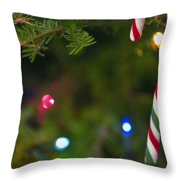 Candy Cane On Tree Throw Pillow by Carson Ganci