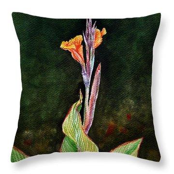 Canna Lily Throw Pillow by Irina Sztukowski