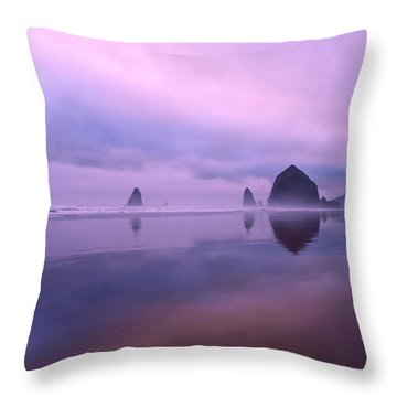 Cannon Beach Reflections Throw Pillow by Dan Mihai