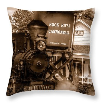 Throw Pillow featuring the photograph Cannonball Express In Sepia by Janice Adomeit