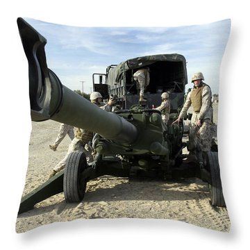 Cannoneers Train With The M777 Throw Pillow by Stocktrek Images