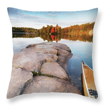 Canoe At A Rocky Shore Autumn Nature Scenery Throw Pillow by Oleksiy Maksymenko