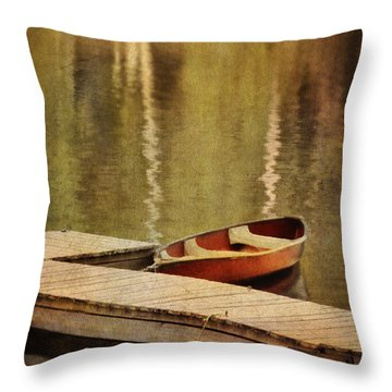 Canoe At Dock Throw Pillow by Jill Battaglia