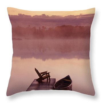 Canoe Dock, Pinawa, Manitoba Throw Pillow by Dave Reede