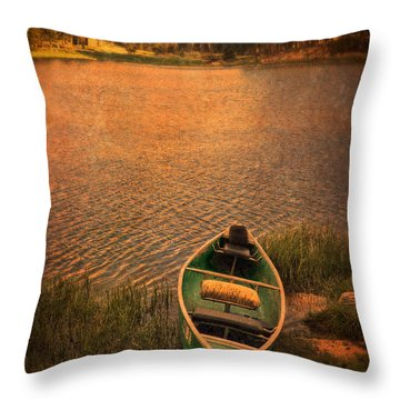 Canoe On Lake Throw Pillow by Jill Battaglia