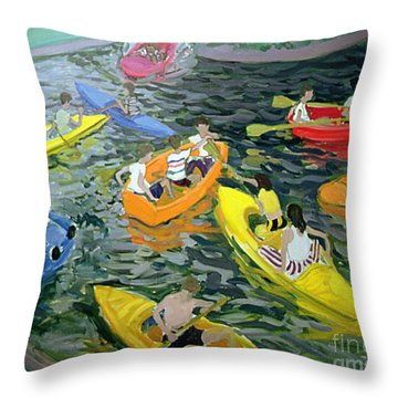 Canoes Throw Pillow by Andrew Macara