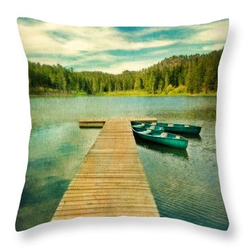 Canoes At The End Of The Dock Throw Pillow by Jill Battaglia