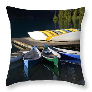 Canoes Morraine Lake 2 Throw Pillow by Bob Christopher