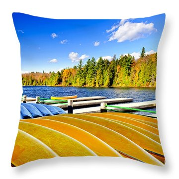 Canoes On Autumn Lake Throw Pillow by Elena Elisseeva