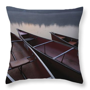 Canoes On Still Water Throw Pillow by Natural Selection John Reddy