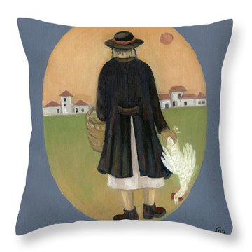 Caparot Rooster Hasid Back View Jewish Religious In Blue Yellow Black Green  Throw Pillow