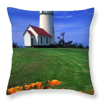 Cape Blanco Lighthouse Oregon Throw Pillow by Dave Mills
