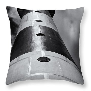 Cape Canaveral Lighthouse Black And White Throw Pillow by Roger Wedegis