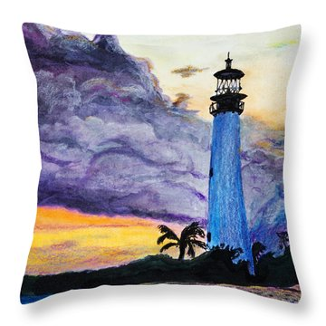 Cape Florida Lighthouse Throw Pillow by Roger Wedegis