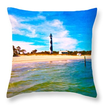 Cape Lookout Shore And Lighthouse Throw Pillow by Betsy Knapp