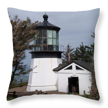 Cape Meares Lighthouse In Oregon Throw Pillow by Peter Mooyman