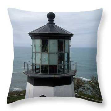 Cape Meares Lighthouse Throw Pillow by Peter Mooyman
