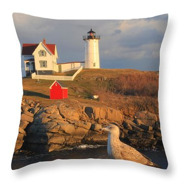 Cape Neddick Nubble Lighthouse And Seagull Throw Pillow by John Burk