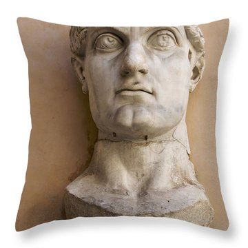 Capitoline Museums Palazzo Dei Conservatori- Head Of Emperor Con Throw Pillow by Bernard Jaubert