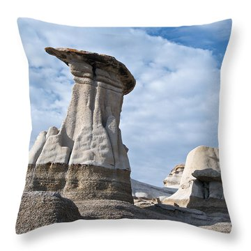 Capped Hoodoo And Clouds Throw Pillow