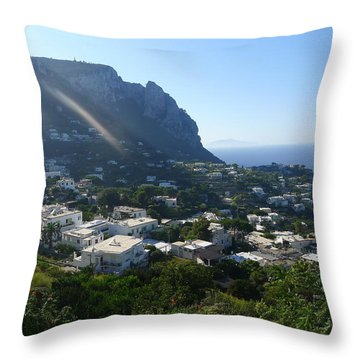 Throw Pillow featuring the photograph Capri From Atop by Nora Boghossian