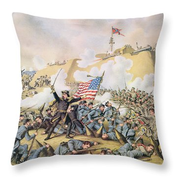 Capture Of Fort Fisher 15th January 1865 Throw Pillow by American School