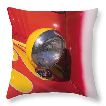 Car Headlight Throw Pillow by Garry Gay