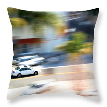 Car In Motion Throw Pillow by Henrik Lehnerer
