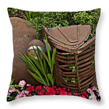 Car In The Garden Throw Pillow by Garry Gay