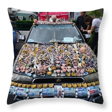 Car Of Teeth Throw Pillow by Kym Backland
