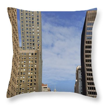 Carbide And Carbon And Wrigley Building - Two Chicago Classics Throw Pillow by Christine Till