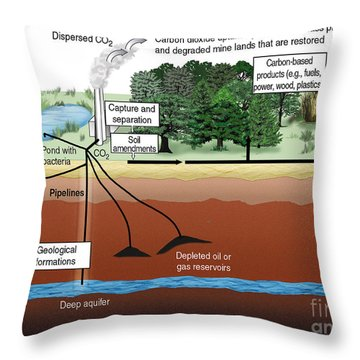 Carbon Dioxide Sequestration Throw Pillow by ORNL/Science Source