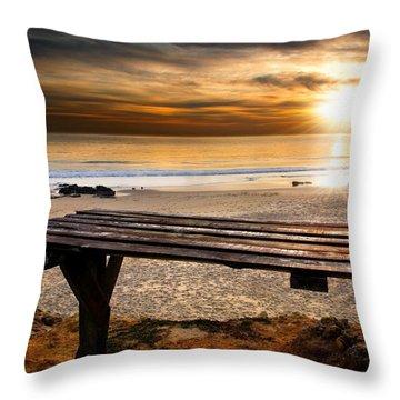 Carcavelos Beach Throw Pillow by Carlos Caetano