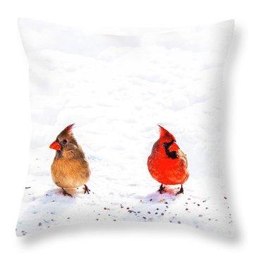 Cardinal Couple II Throw Pillow by Tamyra Ayles